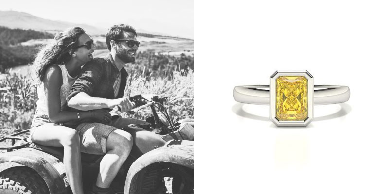 Full Bezel Setting Yellow Diamond Engagement Ring