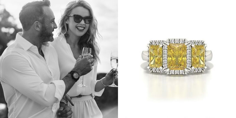 Halo Yellow Diamond Engagement Ring