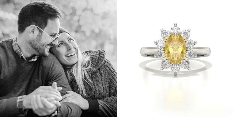 Oval Cut Yellow Diamond Engagement Ring