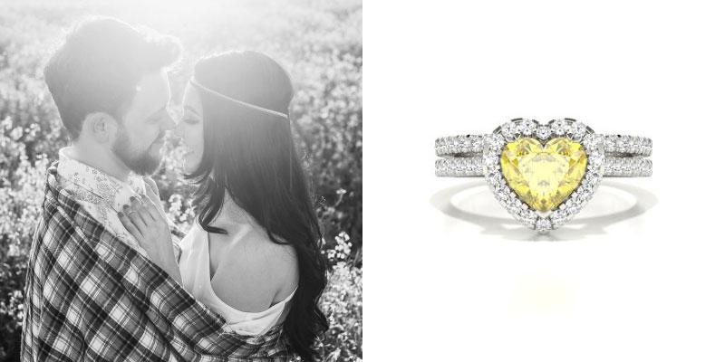 Heart Shaped Yellow Diamond Engagement Ring