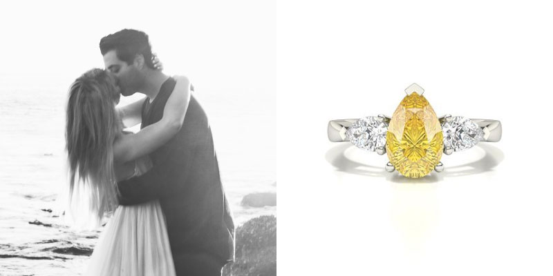 Pear Cut Yellow Diamond Engagement Ring