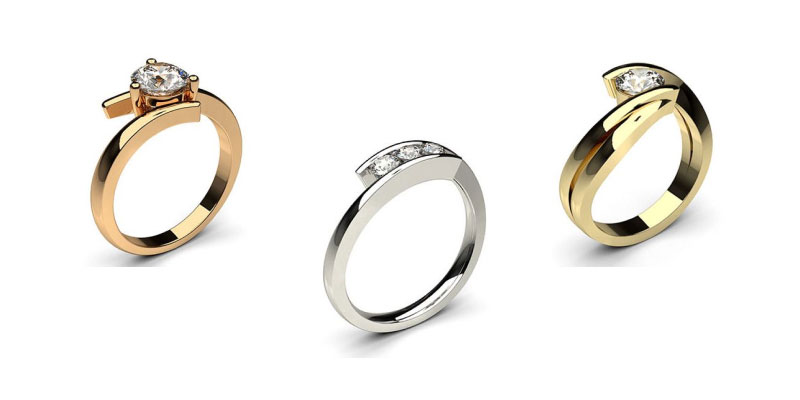 Bypass Shank Engagement Rings