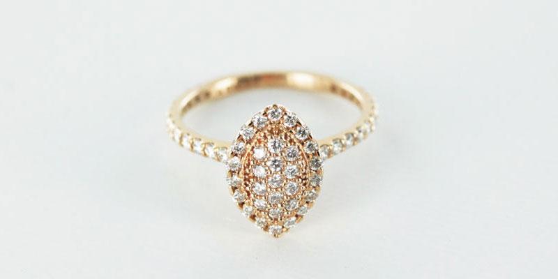Rose gold pave diamond ring