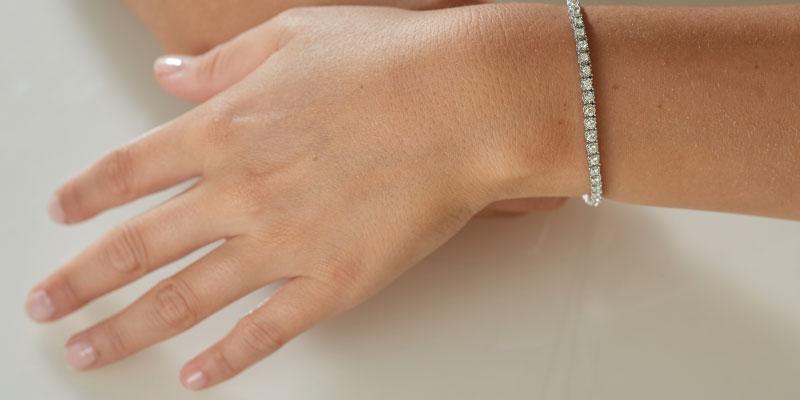 tennis bracelet being worn