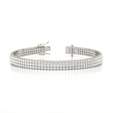 Three Row Pave Setting Round Diamond Tennis Bracelet