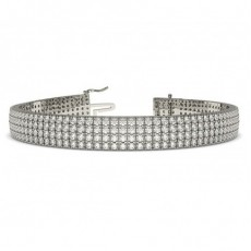 Four Row Pave Setting Round Diamond Tennis Bracelet