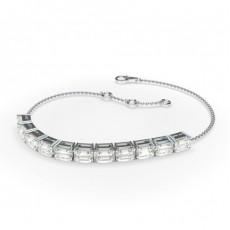 4 Prong Setting Emerald Diamond Delicate Bracelet