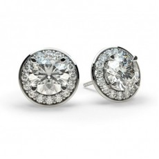 White Gold Round Diamond Halo Earring