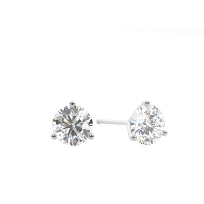 White Gold Round Diamond Stud Earring