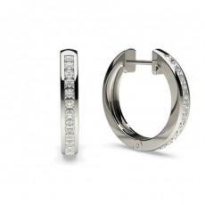 White Gold Princess Diamond Hoop Earring