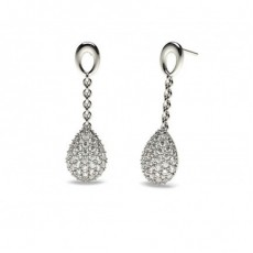 White Gold Round Diamond Drop Earring