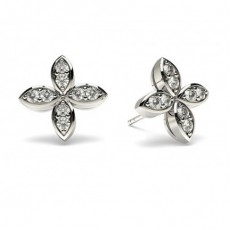White Gold Round Diamond Delicate Earring