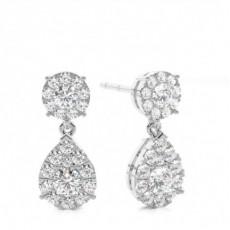 White Gold Round Diamond Drop Earring