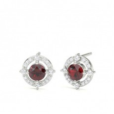 4 Prong Setting Ruby Designer Stud Earrings