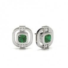 Full Bezel Setting Emerald Designer Earring