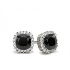 8 Prong Setting Black Diamond Halo Stud Earrings