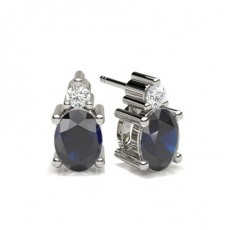 4 Prong Setting Blue Sapphire Stud Earring