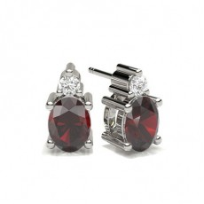 4 Prong Setting Ruby Stud Earring
