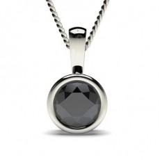 Full Bezel Setting Black Diamond Solitaire Pendant