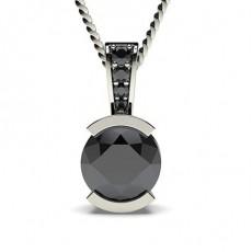 Semi Bezel Setting Solitaire Black Diamond Pendant