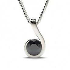 Semi Bezel Setting Classic Solitaire Black Diamond Pendant