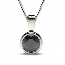 Full Bezel Setting Classic Solitaire Black Diamond Pendant