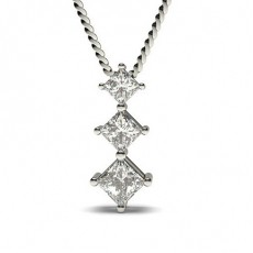 4 Prong Setting Princess Diamond Journey Pendant