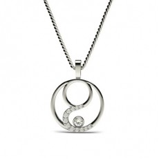 0.20ct. Full Bezel & Pave Setting Round Diamond Delicate Pendant