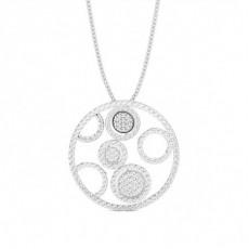 Pave Setting Round Diamond Circle Pendant