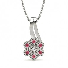 Prong Setting Ruby Cluster Pendant