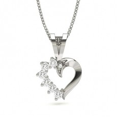 Prong Setting Round Diamond Heart Pendant