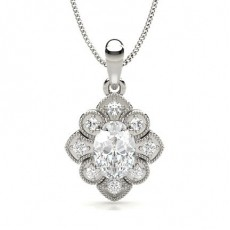 Prong Setting Oval Diamond Designer Pendant