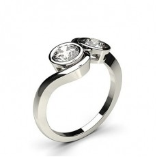 Full Bezel Setting Plain Two Stone Ring
