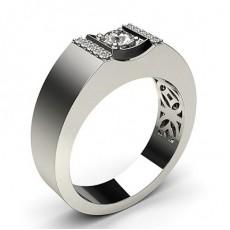 4 Prong Setting Round Diamond Mens Ring