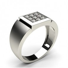 Pave Setting Round Diamond Mens Ring
