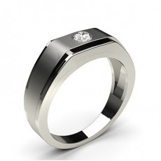Flush Setting Round Diamond Mens Ring