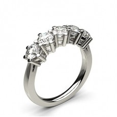 Prong Setting Plain Five Stone Ring