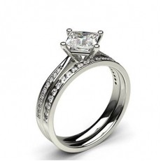 White Gold Princess Bridal Set Diamond Engagement Ring