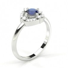 4 Prong Setting Blue Sapphire Halo Engagement Ring