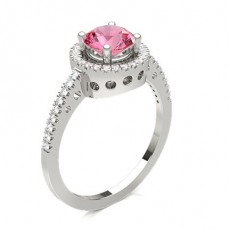 Prong Setting Pink Sapphire Halo Engagement Ring