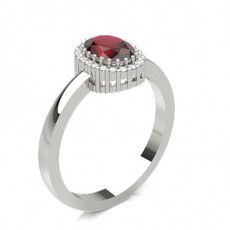 Prong Setting Ruby Halo Engagement Ring