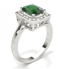 4 Prong Setting Emerald Halo Engagement Ring