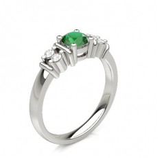6 Prong Setting Emerald Side Stone Ring