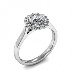 Full Bezel & Prong Setting Round Diamond Cluster Ring