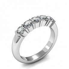 Semi Bezel & 4 Prong Setting Plain Five Stone Ring